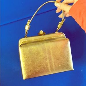 Vintage hand bag with silk change purse attached